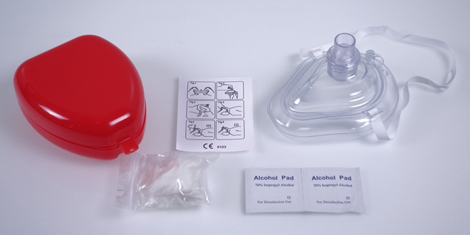 CPR Breathing Mask in Red Box