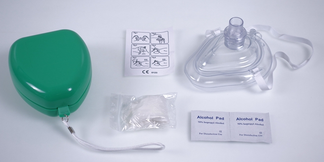 CPR Rescue Mask in Green Box